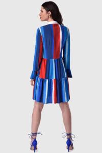 Multi Gathered Skirt and Collar Dress - Multi - Back