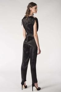 Black Satin Open Shoulder Wrap Jumpsuit - Black - Back