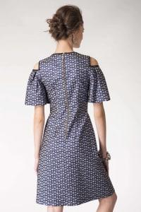 Blue Metallic Cold Shoulder Jacquard Dress - Back