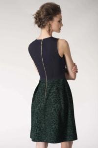Metallic Navy & Green 2-in-1 Floral Print Wrap Dress - Back