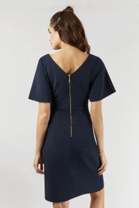 Navy Kimono Wrap Dress - Back