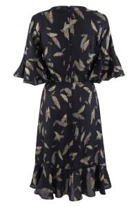 Navy Feather Print Wrap Dress - Back