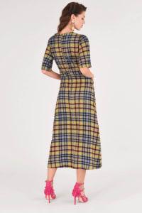 Lime Checked Midi Kimono Dress - Back