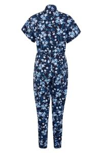 Navy Floral Wrap Front Kimono Jumpsuit - Navy - Back