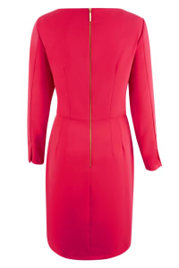 Pink Pleated V-Neck Pencil Wrap Dress - Back