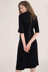 Black Satin Stripe Wrap Midi Dress - Back