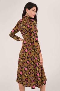 Leopard Print Midi Shirt Dress - Gold - Back