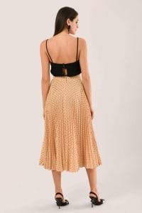 Apricot Pleated Midi Skirt - Back
