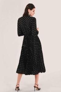 Black Pleated Shirt Dress - Black - Back