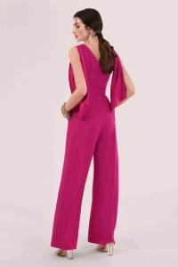 Pink Gathered Shoulder Jumpsuit - Pink - Back