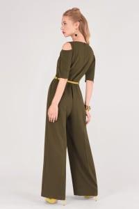 Olive Cold Shoulder Belted Jumpsuit - Khaki - Back