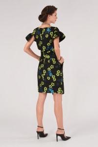 Black Floral Pencil Skirt - Back