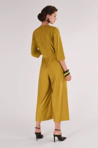 Mustard Wide Leg Jumpsuit - Yellow - Back