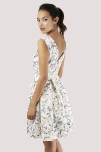 Ivory Floral V-back Pleated Dress - Ivory - Back