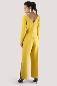 Mustard Wide Leg Side Vent Jumpsuit - Yellow - Back