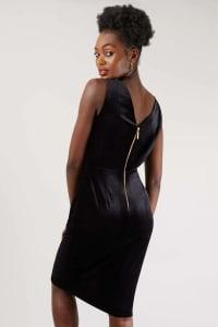 Velvet Black Wrap Dress - Back