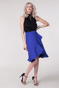 Blue Frill Hem Wrap Skirt - Back
