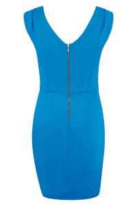 Blue Pleated Shoulder Pencil Dress - Back