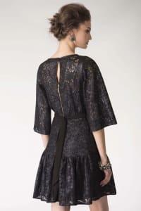 Black Metallic Lace Frill Hem Dress - Back