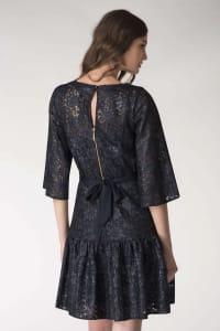 Navy Metallic Lace Frill Hem Dress - Back