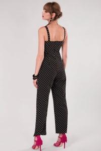 Black Fitted Strap Jumpsuit - Black - Back