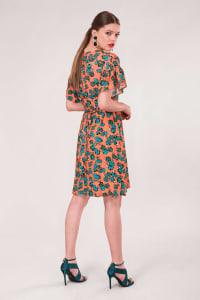 Peach Frill Sleeve A-Line Dress - Orange - Back