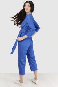Blue Wrap Tie Front Jumpsuit - Blue - Back