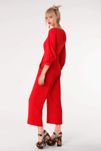 Red 2-In-1 Puff Sleeve Round Neck Jumpsuit - Red - Back