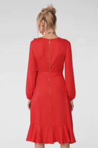 Red Long V-Neck Sleeve Frill Wrap Dress - Back