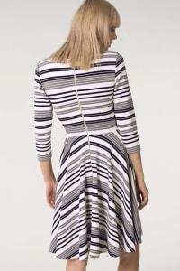 Grey & White Stripes Jersey Skater Round Neck Dress - Back
