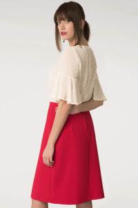 Red Asymmetric Frill Sheath Skirt - Back