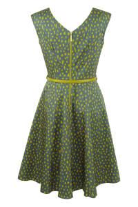 Olive Belted Skater Dress - Khaki - Back