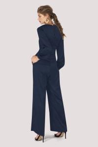 Navy Satin Puff Sleeve Jumpsuit - Navy - Back