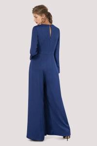 Blue V-Neck Empire Waist Jumpsuit - Blue - Back