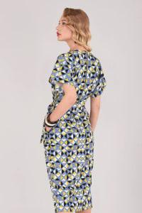 Lime Kimono Wrap Dress - Back