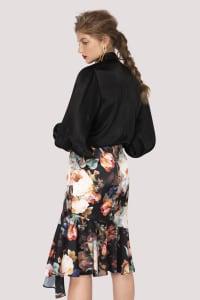 Dark Floral Pencil Skirt With Godet Detail - Back