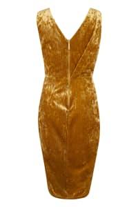 Gold Shiny Velvet Draped Sleeveless Wrap Dress - Back