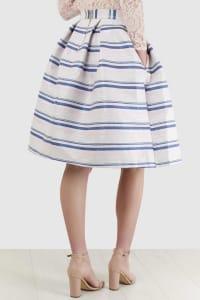 Metallic Stripe Jacquard Skirt - Back
