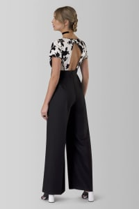 Black Contrast Floral High-Waisted Jumpsuit - Multi - Back