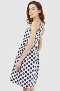 Navy Polka Dot Princess Seam Dress - Back