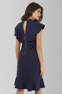 Navy Collar Frill Tunic Dress - Navy - Back