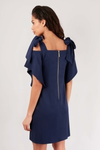 Navy Tie Shoulder Tunic Dress - Navy - Back
