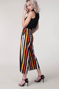 Black Stripes Crop Leg Pants - Black - Back