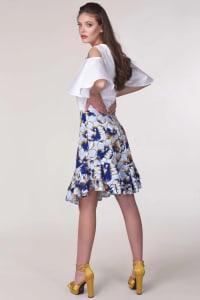 Blue Floral Frill Hem Skirt - Back