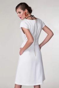 White Wrap Kimono Dress - White - Back