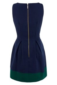 Navy Fit And Flare Skater Dress with Dark Green Contrast Hem - Back