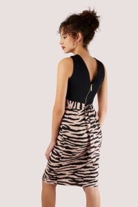 2-in-1 Black With Tiger Print Skirt Dress - Back