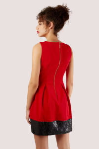 Red Skater Dress With Black Sequin Hem - Back