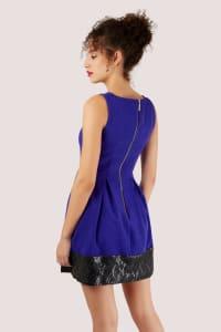 Royal Blue Skater Dress With Black Sequin Hem - Back