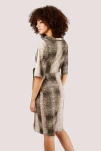 Snakeskin Print Collar Wrap Dress - Back